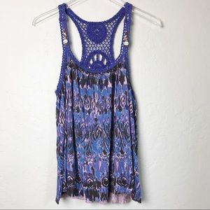Free People Boho Seashell Tank Crocheted Size S